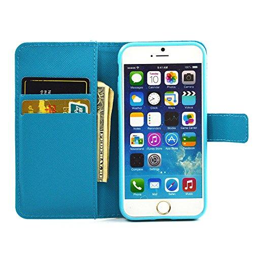 iphone 7 Housse, SHANGRUN Conception de Modèle Magnétique Function PU Cuir Flip Housse Étui Wallet Portefeuille Supporter avec Carte de Crédit Fentes Cover Case pour iPhone 7 4.7 Inch(2016) SR11 SR15