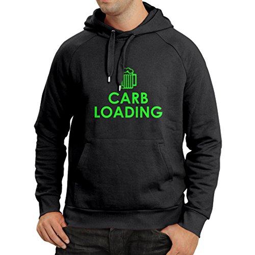 Kapuzenpullover Carb Loading - lustige Fitness Zitate, Fitnessstudio Kleidung (XXX-Large Schwarz Grün) (Tesla Braun Schuhe)