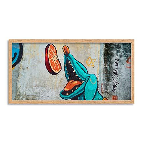 Wee Blue Coo LTD Graffiti Hungry Dog Long Panel Framed Wall Art Print Mauer -