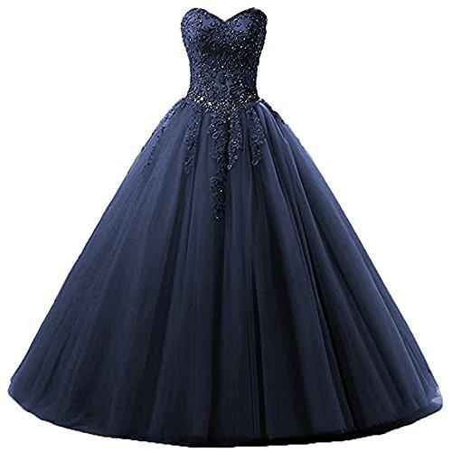 Zorayi Damen Liebsten Lang Tüll Formellen Abendkleid Ballkleid Festkleider Marineblau Größe 36 Quinceanera Kleid