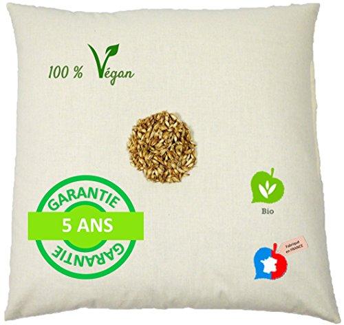 La Cocarde Verte Oreiller épeautre Bio - Oreiller Coton Bio et Balles Végétales Bio Anti Mal de Dos - Fabrication française Garantie 5 Ans - Écru Naturel