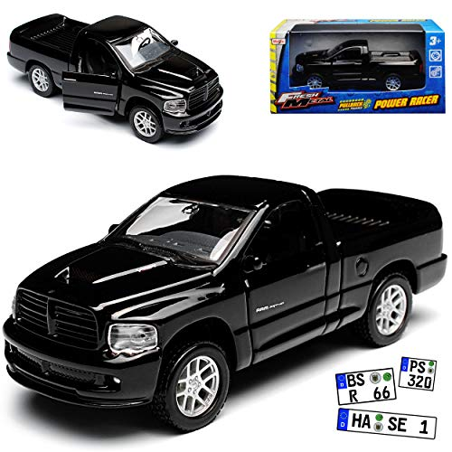 Maisto Dodge Ram SRT -10 Pick Up Schwarz 3. Generation 2002-2009 mit Rückzugsmotor ca 1/43 1/36-1/46 Modell Auto mit individiuellem Wunschkennzeichen -