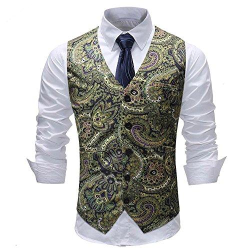 Sannysis Anzugweste Herren Herbst Winter Freizeit Bunter Druck Anzug Weste Slim Fit Elegant Weste Jacke ()