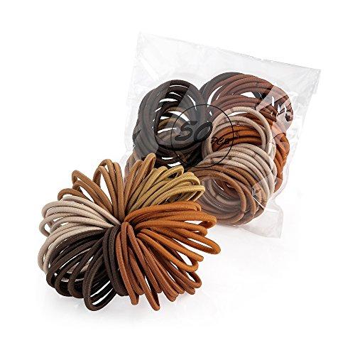 Pritties Accessories Haargummis, ohne Haken, Braun, 50 Stück
