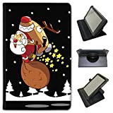 Fancy A Snuggle Babbo Natale Fun & Frolics in Similpelle Dotata di Copertura, con Supporto Verticale per Tablet Acer Nero Santa in Sky Rocket Reindeer Acer Iconia Tab 8 A1-840