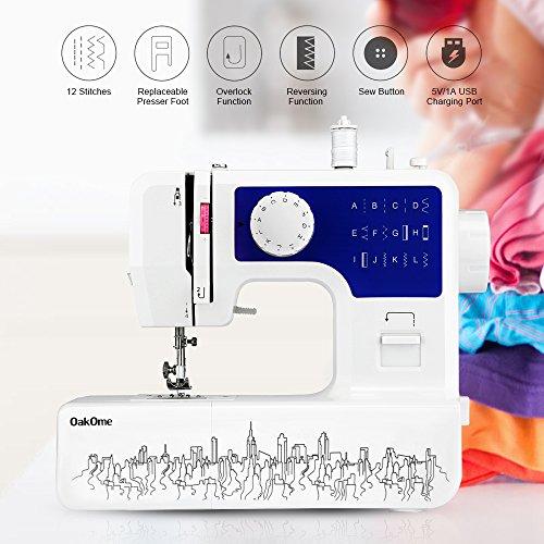 OAKOME Mini Máquina de Coser Automática Eléctrico de Doble Velocidad de Rosca Automática con Luz,Automatic Sewing Machine Eléctrico(Azul, Azul)