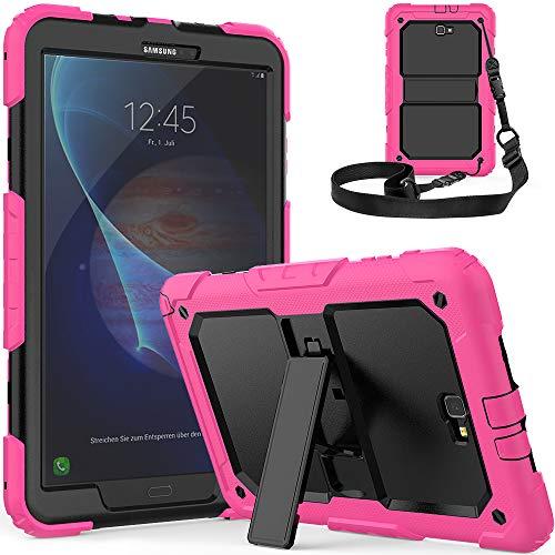 SXcase Hülle für Samsung Galaxy Tab A 10.1 Tablet für Kinder,Robuste Schwerer Stoßfest Silikon mit Ständer für Samsung Galaxy Tab A 10.1 (SM-T580/T585)[Rose] Robuste Silikon