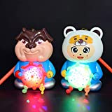 mAjglgE niedliche Kinder-Laterne mit Cartoon-Motiv, drehbar, Musik-Licht, Weihnachtsspielzeug – zufälliger Stil