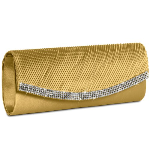 CASPAR TA291 Damen Satin Clutch, Farbe:gold