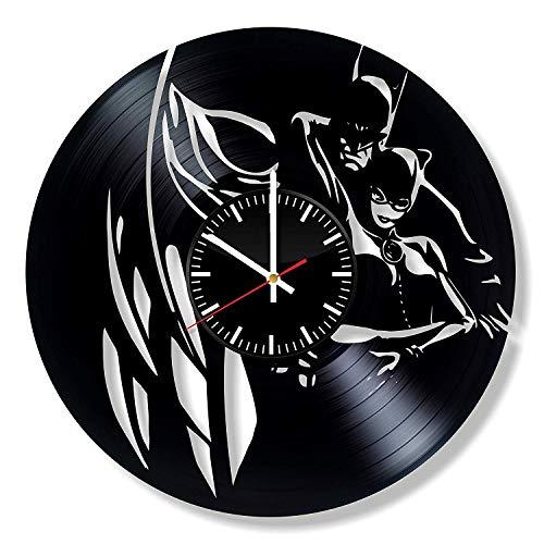 LKCAK Batman DC Comics Vinyl Uhr - Superheld Wandkunst Raumdekor handgemachte Dekoration Partyangebot Thema Sachen Geburtstagsgeschenk Vintage Modern Style
