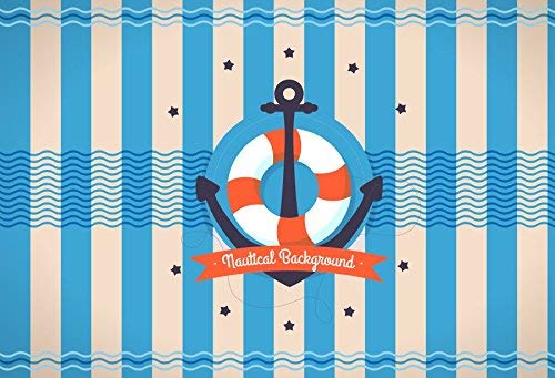 Meereswellen Leavel Hintergrund 5x3ft Vinyl Fotografie Hintergrund Life Ring Marine Hintergrund Blau und Weiß Streifen Hintergrund ()