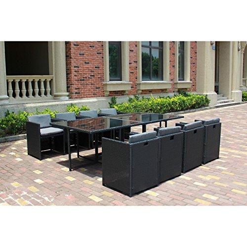 Le Vito : Salon Jardin Noir encastrable en résine 8 fauteuils