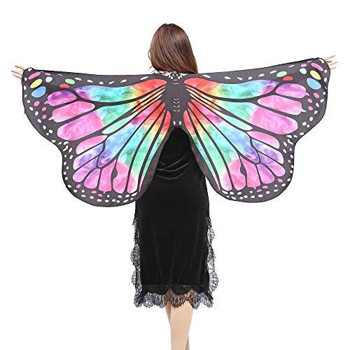 WOZOW Damen Schmetterling Flügel Kostüm Nymphe Pixie Umhang Faschingkostüme Schals Poncho Kostümzubehör Zubehör (Heißes Rosa 2)