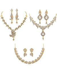 Apara Gold Plated Combo Necklace Set With Austrian Diamond For Women