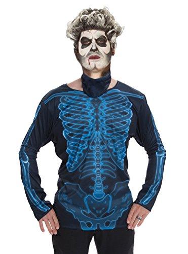 Karneval-Klamotten T-Shirt für Erwachsene mit aufgedrucktem Skelett für Halloween Röntgen Horror Skelett-Kostüm Herren ()