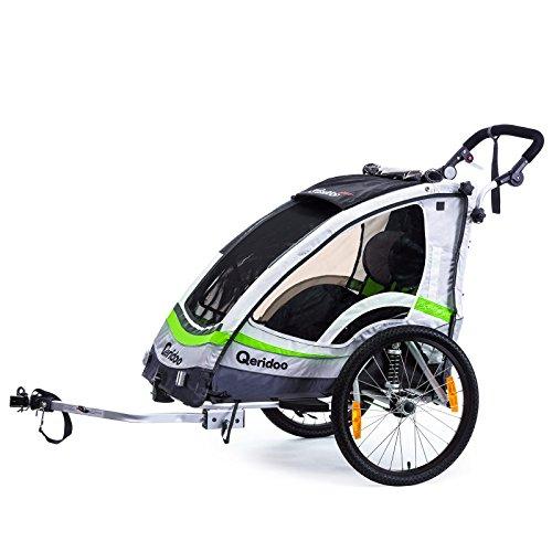 Qeridoo Sportrex 1 Deluxe (inkl. Sitzpolster) Kinder-Fahrradanhänger für 1 Kind (mit einstellbarer Federung) – grün - 2