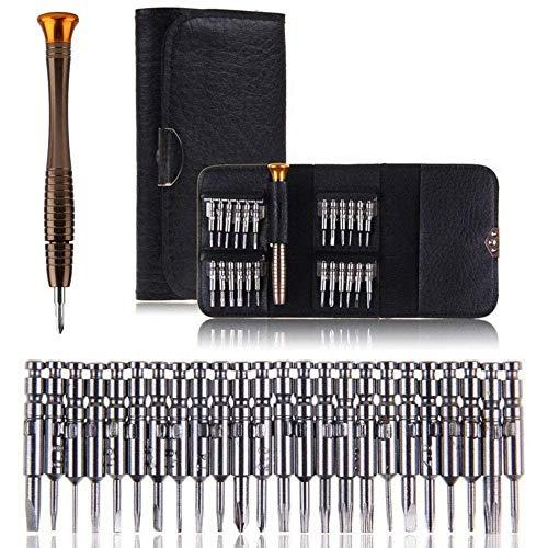 Vakki Schraubendreher Set 25 teilig Werkzeugset, Mini gehärtet Schraubenzieherset für PC, Brillen, Handy, Laptop (Torque, Schlitz, Kreuzschlitz) in Ledertasche
