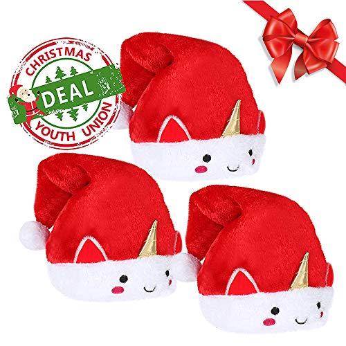 YouthUnion Sombrero de Santa Unicornio, Gorra de Navidad Decoración para Mujer Cosplay Disfraz Fiesta Festival Regalo Navidad (3pcs)