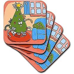 """CST _ 34020Kokusan """"S. Fernleaf Designs Urlaub Weihnachten Katzen–Weihnachten Katze, Weihnachtsbaum mit Katzen, Katzen, Weihnachten, Weihnachten, Katze, Haustiere, Urlaub–Untersetzer, keramik, set-of-4-Ceramic"""