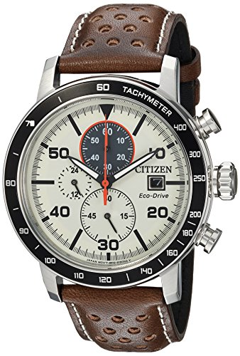 Citizen Homme 49mm Bracelet Cuir Marron Quartz Cadran Blanc Montre CA0649-06X