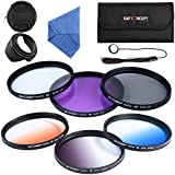 K&F Concept 67mm Kit de Filtres (UV/CPL/FLD/Bleu/Orange/Gris ND4) Filtre protection UV Filtre Polarisant Filtre Gris Neutre Filtres Couleur Progressifs pour Appareil Photo