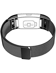 Fitbit Charge 2 Armband, Yoozon Bänder Ersatz Edelstahl Adjustable Armband Smart Watch Armbänder Mit Magnet Lock für Fitbit Charge 2 Smartwatch