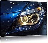 Weißer BMW vor Ruine Bild auf Leinwand, XXL riesige Bilder fertig gerahmt mit Keilrahmen, Kunstdruck auf Wandbild mit Rahmen, guenstiger als Gemaelde oder Bild, kein Poster oder Plakat, Format:100x70 cm