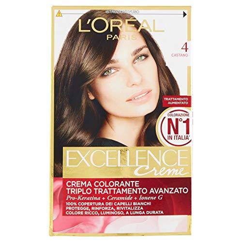 L'Oréal Paris Excellence Crema Colorante Triplo Trattamento Avanzato, 4 Castano, 1 Pacco
