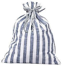 Blue Striped Drawstring Multi Purpose Pouch (Blue)