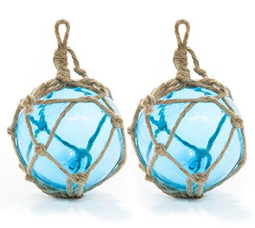 Float-glas (Aqua Glas Float Ball groß | Angeln Boje Bälle 12,7cm | Perfekt für Beach Hochzeiten Oder als Weihnachtsschmuck | Nautisches Crush tradingtm 2 Pack Aqua)