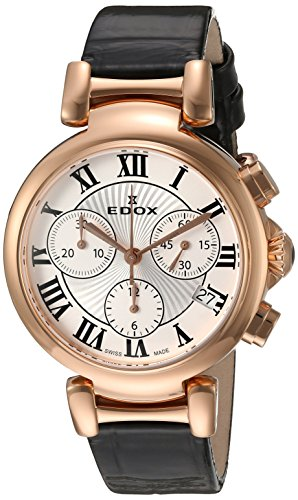 Edox Women's 10220 37RC AR LaPassion Analog Display Swiss Quartz Black Watch