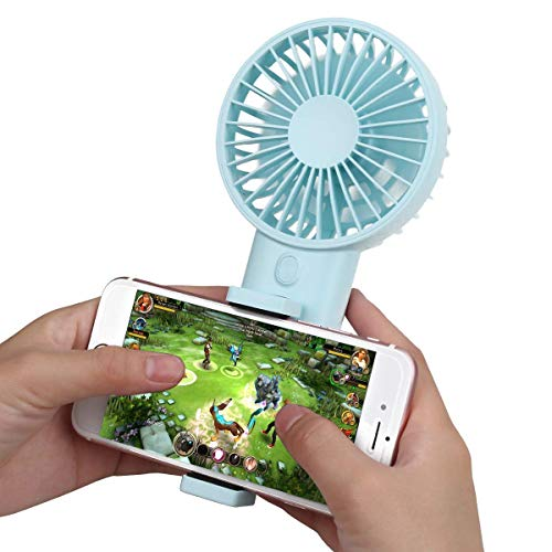 USB-Handventilator, Lüfter für tragbare Telefonhalter, weiche Luft und extrem leise, geeignet für Reisen, Heim und Büro,Lightblue Power Cap Batterie