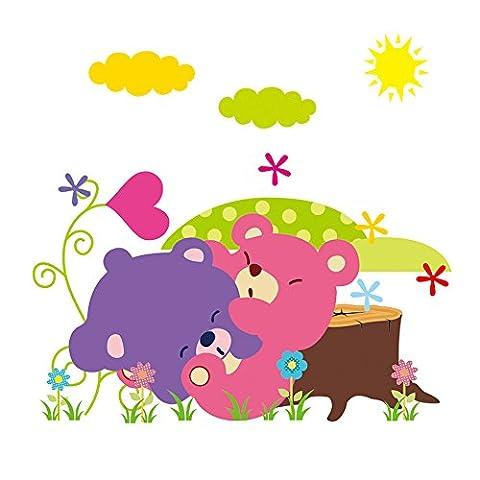 Winhappyhome Cute Animal Cubs Ours EnsoleilléE Wall Art Autocollants Pour Les Enfants Chambre Nursery DéCor Amovible Decals