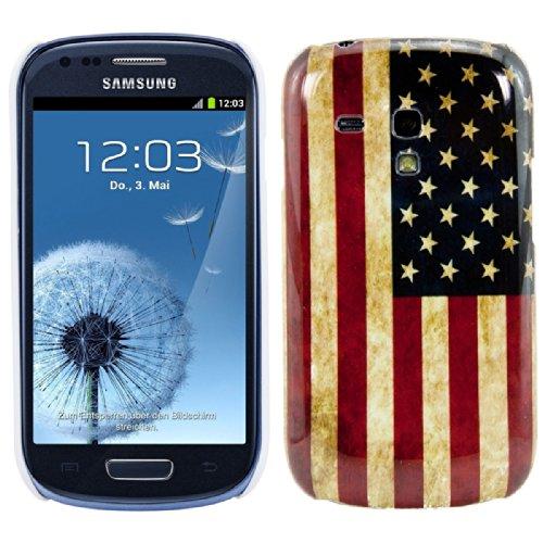 kwmobile Hülle für Samsung Galaxy S3 Mini i8190 - Backcover Case Handy Schutzhülle Kunststoff - Hardcase Cover Flagge USA Design Blau Weiß Rot (S3 Mini-usa)