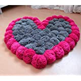 Multi Color Wool Heart Floor Carpet