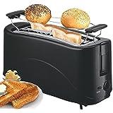 Toaster Langschlitz | 4 Scheiben Toastautomat | Cool Touch | Brötchenaufsatz | 7-stufige Bräunungsradregelung |Schwarz |
