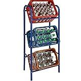 Flaschenkastenständer von JEMIDI Getränkeregal Flaschenkastenregal Kästenregal Getränkekisten Kästenträger für 3 Kisten Blau