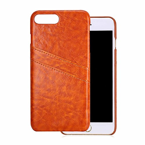 iPhone 7 Plus Case, Bandmax Fashion Comfortable Environmental Leather Card Slots Shock/Scratch Resistant Protective Bumper Case Cover for iPhone 7 Plus (Brown)