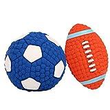 Alxcio Hundespielzeug Ball für Hunde, Spielzeug Skeaky, Kugel, Männlich, für Haustiere, Latexkugel, Rugbyball, mit Pfeife, Geeignet für Kleine und Mittelgroße Hunde, 2 Stück
