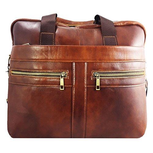 Laptoptasche fr HKC NT14W DE Businesstasche Aktentasche Notebooktasche mit Schultergurt aus PU Leder LB Braun 2 Aktentaschen