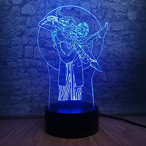 WangZJ 3d Illusion Lampe / 7 Farben Illusion/rgb Tisch Schreibtischlampe/Fernschalter/Geburtstag Weihnachtsgeschenk/Joker & Harley