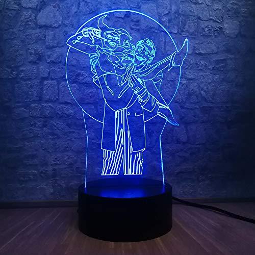 WangZJ 3d Illusion Led Lampe / 3d Led Lampe/kreative Atmosphäre Beleuchtung/Kind Weihnachten Geburtstagsgeschenk/DC Joker & Harley (Blau Hüte Für Kinder Dc)