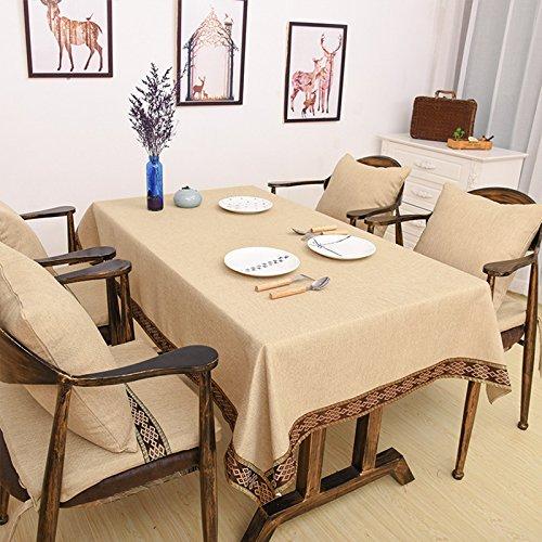 SYHOME Tischdecke Tischtuch Einfache Handtücher Einfarbige Jacquardspitze Handwerk Kaffee Beige,110*170 cm (Tücher)