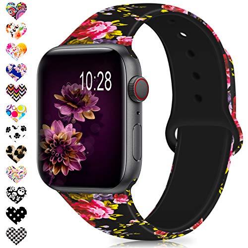 Serie 2 Ersatz (Jiamus Für Apple Watch Kompatibel Armband 38mm 40mm 42mm 44mm, Soft Silikon Classic Ersatz Uhrenarmbänder für iWatch Series 4, Series 3, Series 2, Series 1 (42mm/44mm M/L, A, Pink Rose))