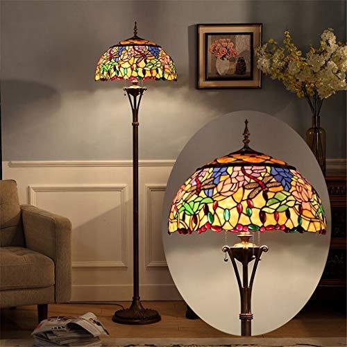 iffany Retro-Stehleuchte Elegante Luxus-Stehlampe Glasmalerei-Perlen Libelle Musterlampe Nachttischlampe - Ideal für Bett & Schlafzimmer ()