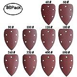 YaYuu - Hojas de lija para ratón, 80 unidades, 5 agujeros, papel de lija de detalle, 40 60 80 100 120 180 240 320 400 800 gramos