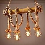 Kronleuchter Retro Hemp Seil Hängeleuchte Industrielle Pendelleuchte Leuchte Vintage E27-Buchse Hanfseil und Bamboo Pendelleuchten Küchenleuchte Wohnzimmer Esszimmer bar, Leuchtmittel nicht enthalten