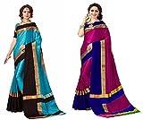 Art Decor Sarees Women's Cotton Silk Designer Saree With Blouse - Combo Of 2 Saree - Total 20 Colors Available