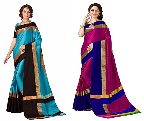 Art Decor Sarees Women's Cotton Silk Designer Saree With Blouse - Combo...