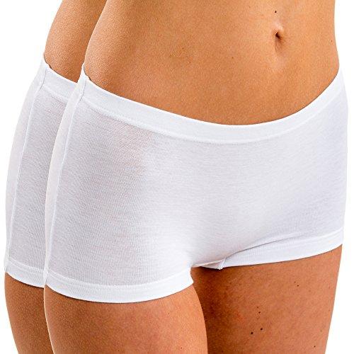 HERMKO 5700 2er Pack Damen Panty aus anschmiegsamer Baumwolle / Elastan, Farbe:weiß, Größe:40/42 (M)